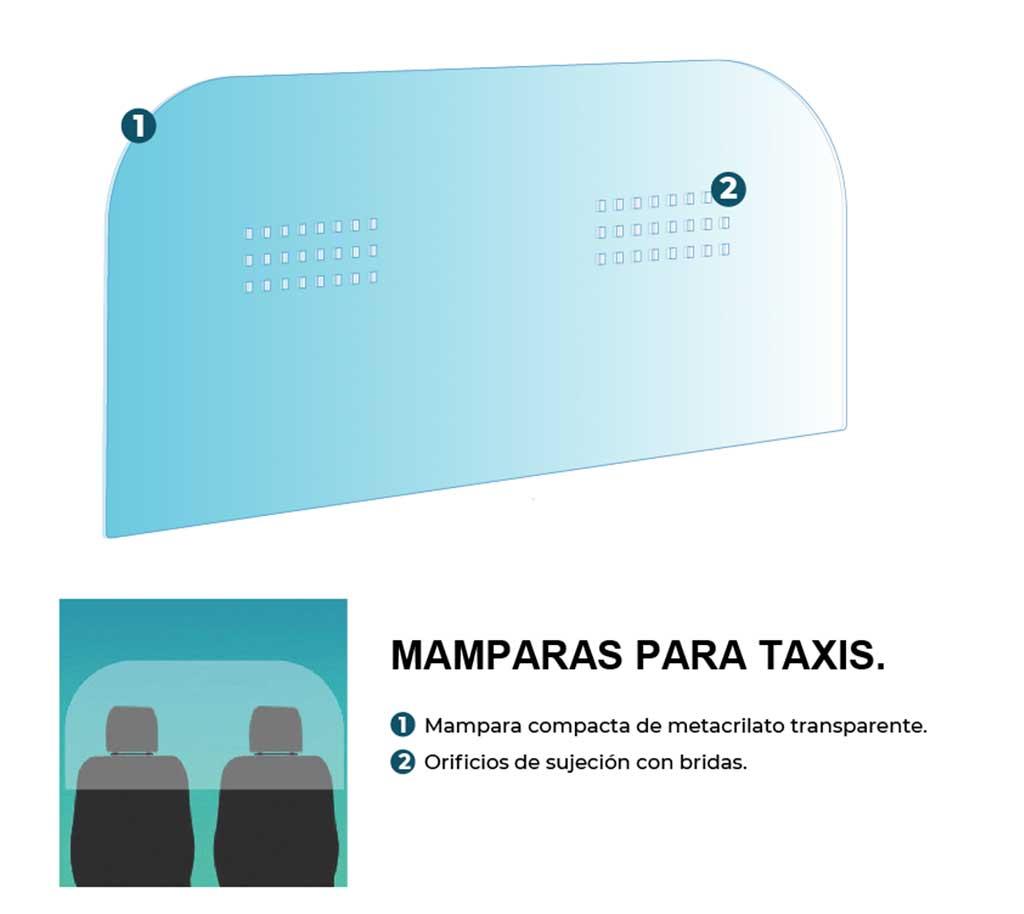 Mamparas de protección anticontagio para Taxis, transporte publico, todo tipo de vehículos